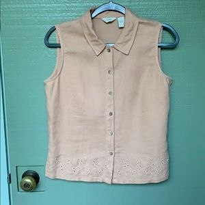 J. JILL- size small linen tan blouse